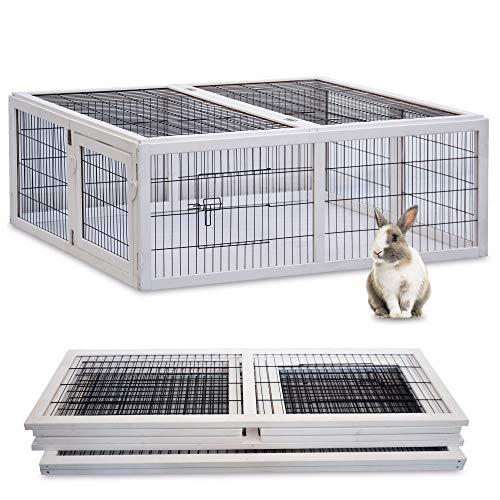 zooprinz brandneues Freilaufgehege Rabbit Run 2020 für draußen - ideal für Kleintiere - Besonders Stabiler und großer Holzrahmen - Mobiler Freilauf mit umweltfreundlicher Farbe lasiert