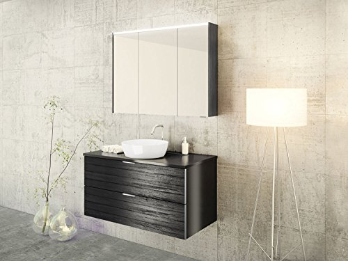 Design Badmöbel-Set Khalix mit Aufsatzbecken und innovatiben Wasserablauf - 100 cm breit - Holzdekor Dunkel - Badezimmermöbel Waschtisch Spiegelschrank mit Beleuchtung Sieper Jokey
