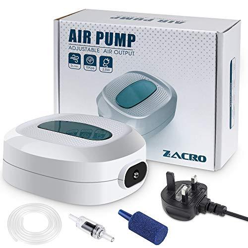 Zacro Aquarium-Luftpumpe, 2,5 W, sehr leise, Durchfluss 3 l/min, Verstellbarer Luftstrom, für 35L-300 l Aquarien
