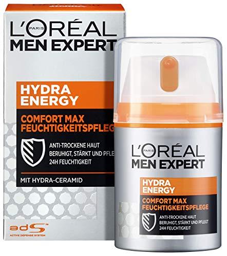 L'Oréal Men Expert Hydra Energy Comfort Max Gesichtscreme, die nicht-fettende Gesichtspflege für sensible und trockene Männerhaut ist die ideale Tages- und Nachtcreme (1 x 50ml)