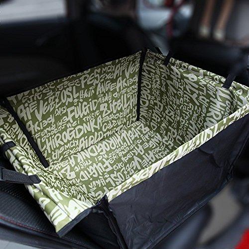 Autositz Hund 60x50x35 cm Hundesitz Auto-Schutz Hundekorb für Rückbank Transporttasche Schondecke Träger-Gurt verstellbar wasserfest sicherer Transport für Katze Haustier oliv grün Buchstaben