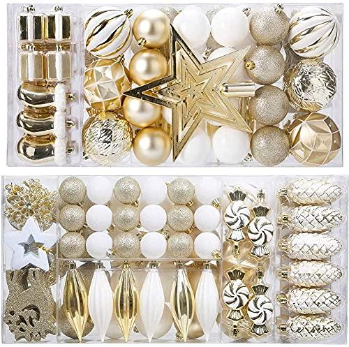 88PCS Weihnachtskugeln Ornamente für Weihnachtsbaum, zarte Weihnachtsdekoration Kugeln Bastelset Bruchsichere Kunststoff weihnachtsbaumschmuck Kugeln Kit für Neujahrsfeier Hochzeitsfeier (Gold+Weißen)