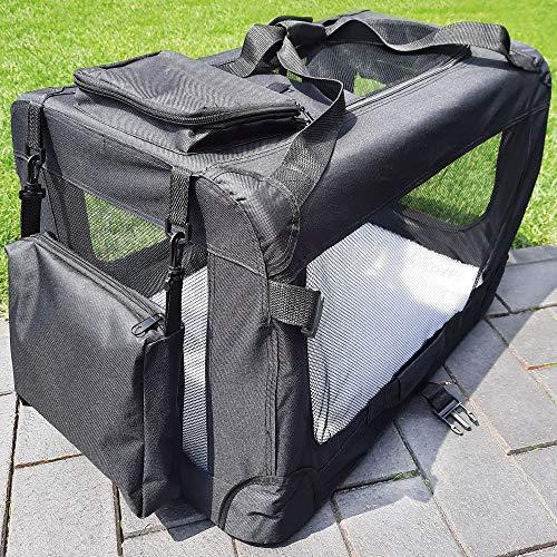 zooprinz Faltbare Hundetransportbox mit sicherem Stahlrohrrahmen - inklusive Kuschelunterlage für deinen Hund - in 5 Größen und 2 Farben (XXXL, Schwarz)