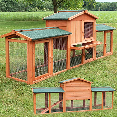 zooprinz großer Hasenstall 2021 - aus edlem massiven Vollholz ideal für draußen - Einfach zu reinigen Dank der Kotschublade - Kleintierstall mit ungiftiger Farbe gestrichen - Kaninchenstall Hasenstall