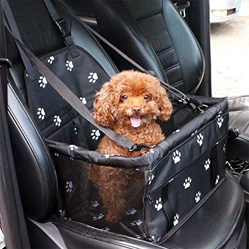 Teng 1x Tragbare Tragetasche Haustier Tasche Hunde Autositz Katzen Tasche Sitzerhöhung Mesh Einseitig Deluxe Faltbare Autos Reisetasche für Haustiere Rücksitz-Schwarz
