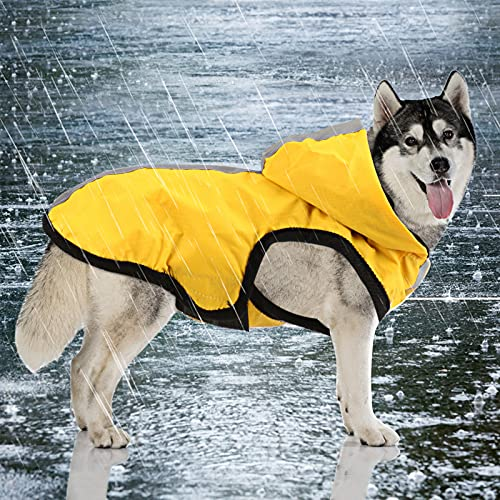Idepet wasserdichte 2-in-1-Regenjacke für Hunde, Leichter Overall für Hunde mit Kapuze, atmungsaktiver Regenponcho mit Kapuze und reflektierendem Streifen für kleine, mittel große GroßHunde (S, Gelb)