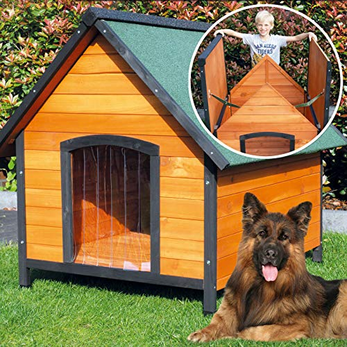 zooprinz wetterfeste Hundehütte Balu- aus massivem Holz und Dach zum Öffnen - perfekt für draußen - mit umweltfreundlicher Farbe gestrichen - 2 Größen zur Wahl (XXL)