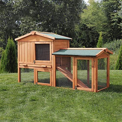 Miweba Hasenstall Kaninchenstall my animal MH-03 Doppelstockhaus - Hasenkäfig - Kiefernholz - Multifunktional - Winterfest - 2 Ebenen (Braun)