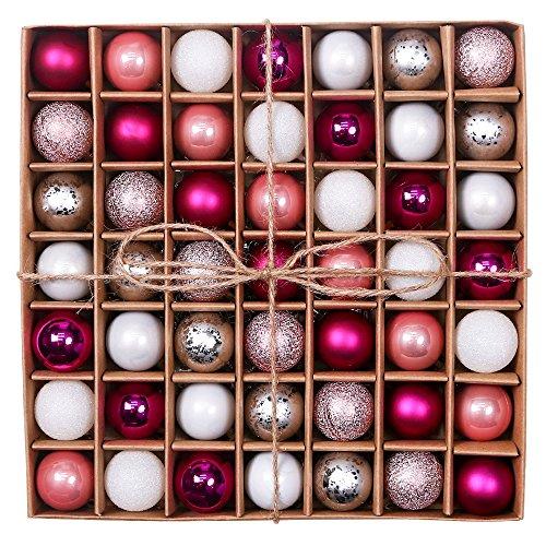 Valery Madelyn Weihnachtskugeln 49 Stücke 3CM Kunststoff Christbaumkugeln Weihnachtsdeko mit Aufhänger Glänzend Glitzernd Matt Weihnachtsbaumschmuck Dekoration Rosa Silber MEHRWEG Verpackung