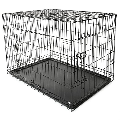 TRESKO Hundekäfig 107 x 71 x 77 cm faltbar mit 2 Türen | Transportkäfig Auto | Hundebox mit Bodenschale | Transportbox Drahtkäfig