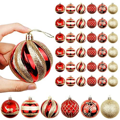 OurWarm 36er Set Christbaumkugeln,6 Arten von großem Rot und Gold bruchsicheren Weihnachtskugel Set für Weihnachtsbaumschmuck,Christbaumschmuck, Hochzeitsdekoration, (7cm Ø Durchmesser)