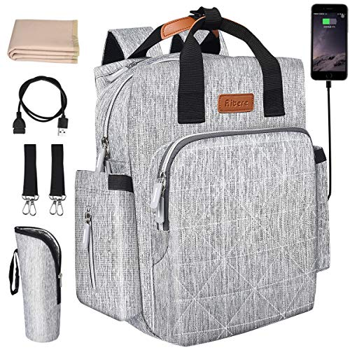 Aitere Baby Reise Wickeltasche, multifunktional und mit maximaler Kapazität, mit 1x Wickelauflage und 2X Sicherheitsgurten + Baby Thermo Flaschenschutztasche + USB Ladefunktion(Grau)