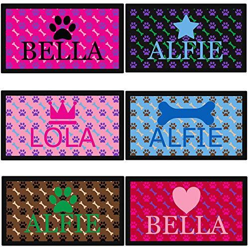 Futternapf-Matte für Hunde, Pfoten- und Knochenmotiv, gummierte Unterseite, personalisierbar mit Name und Emoji