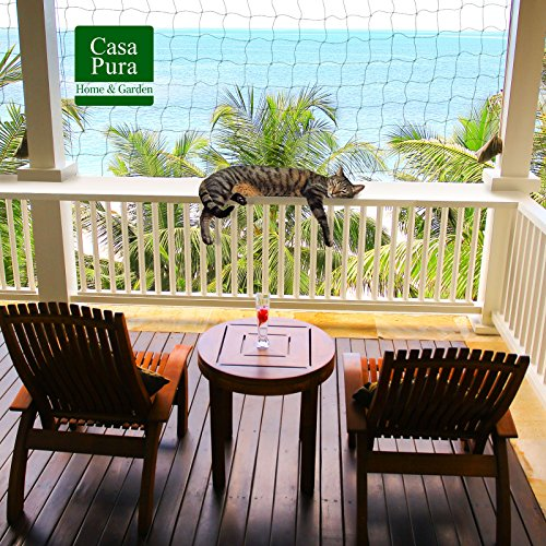 casa pura Katzennetz für Balkon ohne Bohren | mit Befestigungsseil | Katzenschutz für Terrasse, Fenster und Tür | reißfest, aus hochfestem Nylon | 2,5 x 6 m schwarz