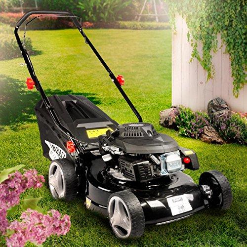 BRAST Benzin Rasenmäher 2,2kW (3,0PS) 41cm Schnittbreite Stahlblechgehäuse 45L Grasfangkorb Easy Clean TÜV Mäher Benzinmäher
