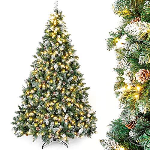 Yorbay künstlicher Weihnachtsbaum mit Beleuchtung weiß Schnee LED Tannenbaum für Weihnachten-Dekoration 180cm